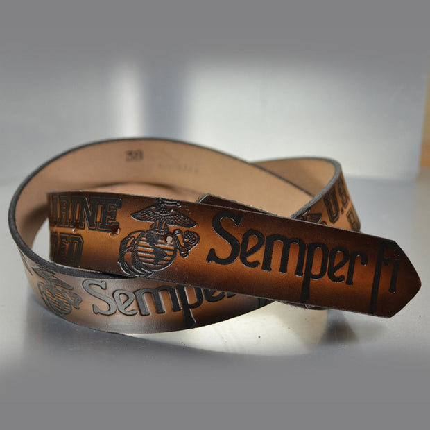 Semper Fi Marine Retired Embossed Leather Belt