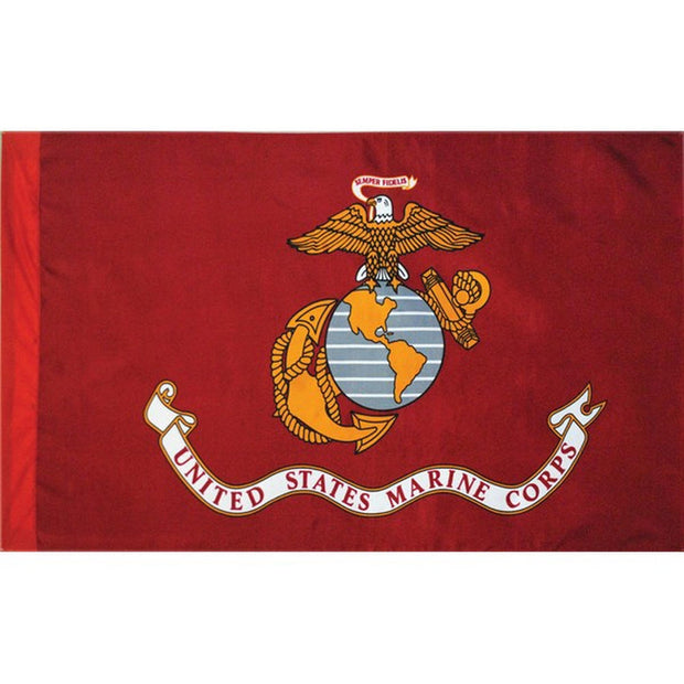 Marine Corps 5' x 3' Nylon Single-Sided Sleeved Flag