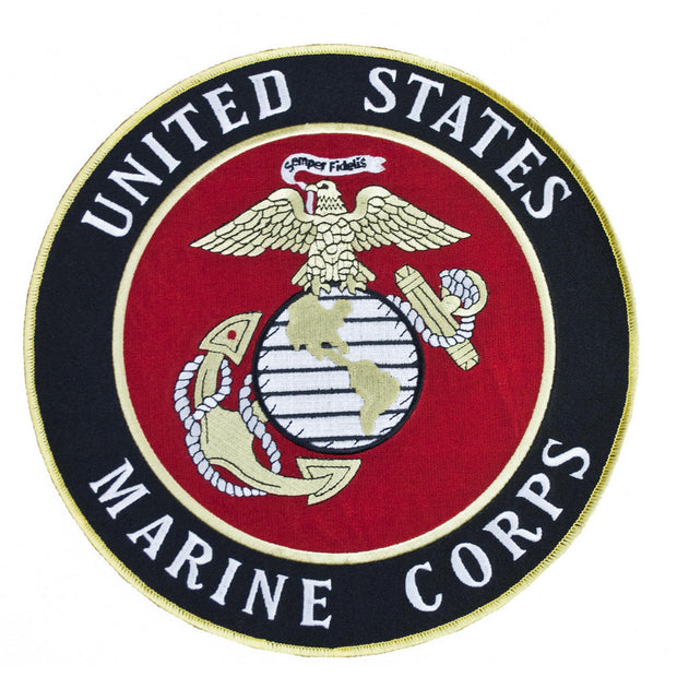 "10"" Black and Red Marine Corps Emblem Patch"