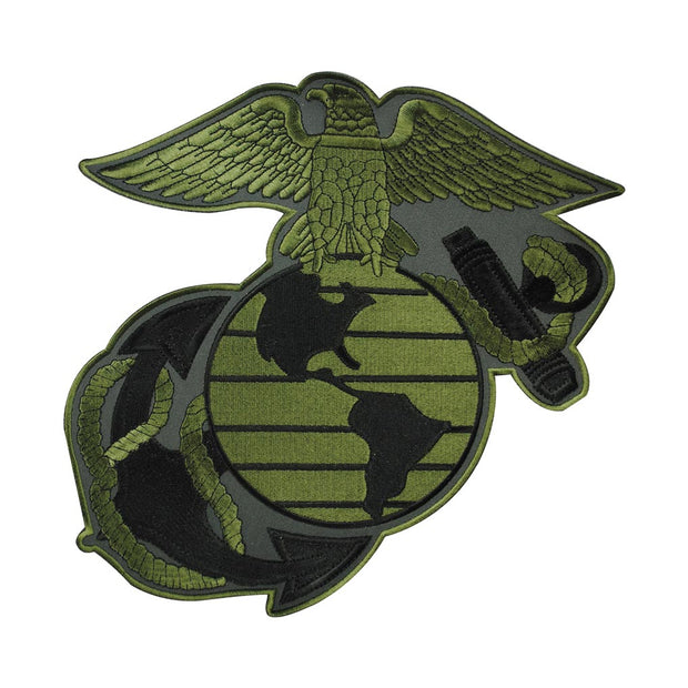 "10"" OD Green Eagle Globe and Anchor Patch"