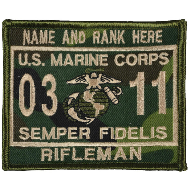 U.S. Marine Woodland Camo Personalized MOS Patch