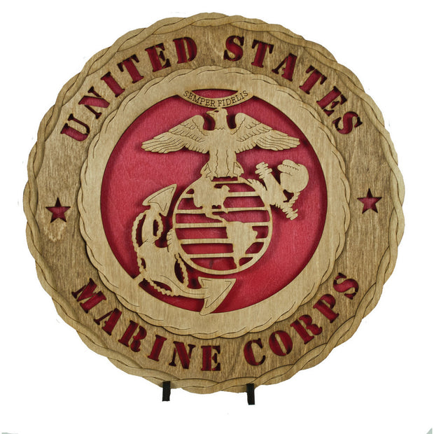 Wooden Marine Corps Emblem Wall Plaque