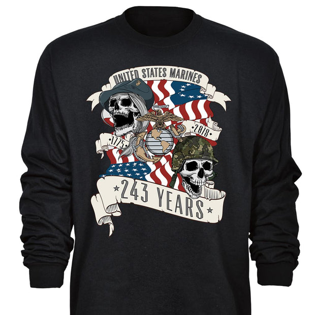 SGT Grit Exclusive USMC 243rd Skull Birthday Long Sleeve Grunt Exclusive
