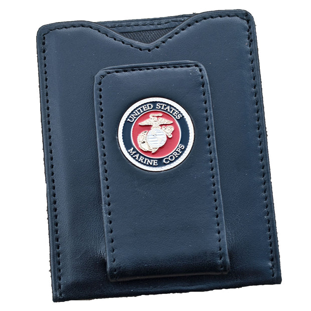 Leather Marine Corps Wallet With Magnetic Money Clip
