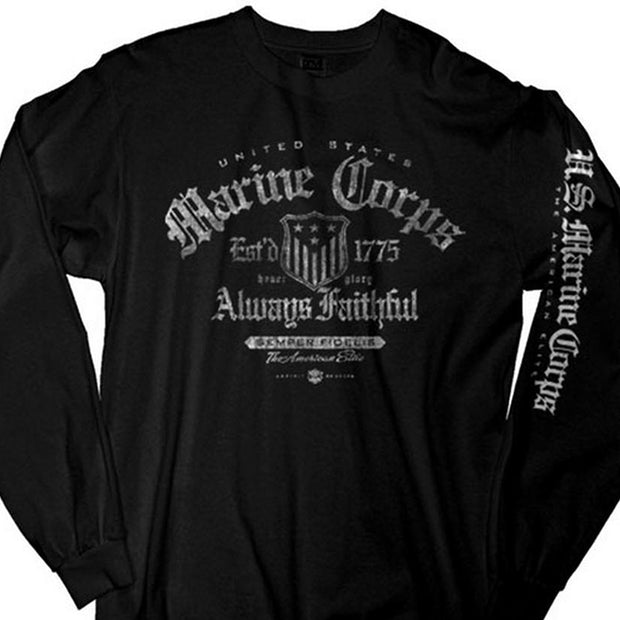 Black Long Sleeved Marine Corps T-Shirt