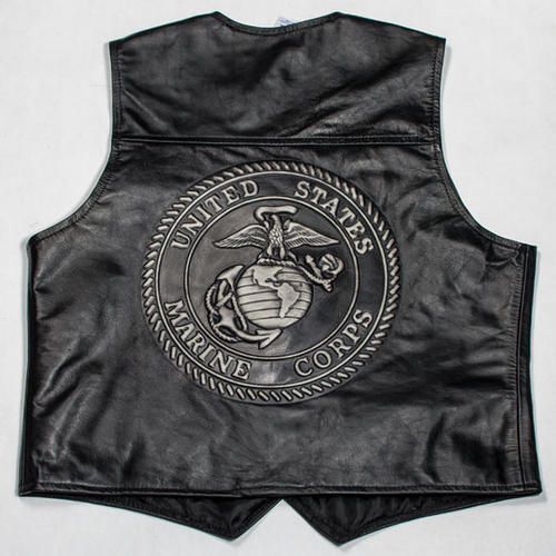 Embossed Black Leather Vest