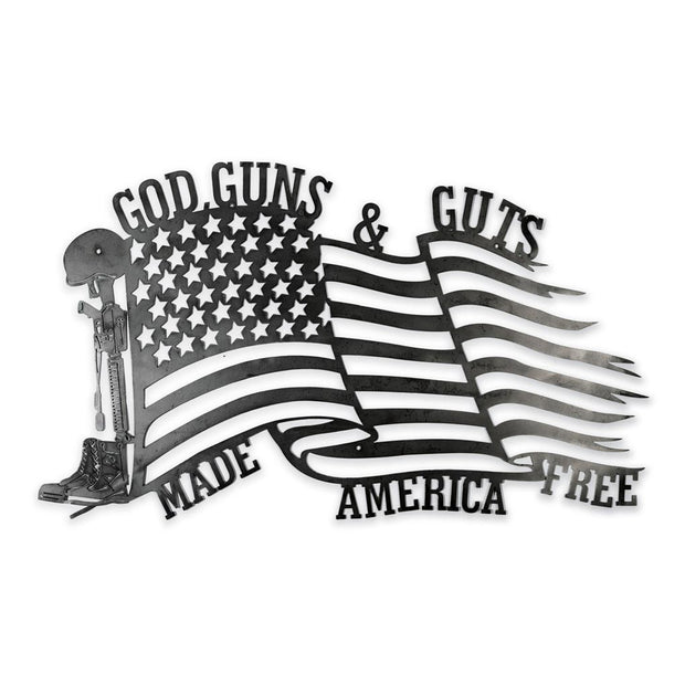 "God Guns & Guts Metal Sign 24"" x 14"""