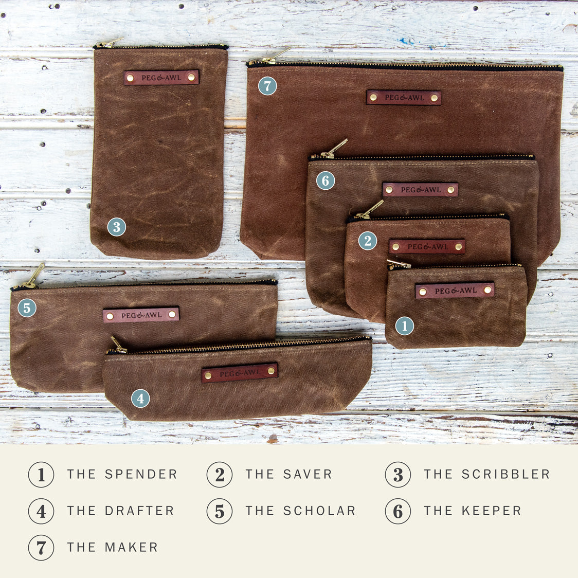 Pouches by Peg and Awl