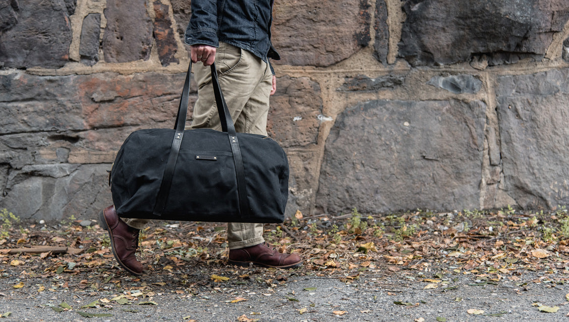 All Black Weekender by Peg and Awl