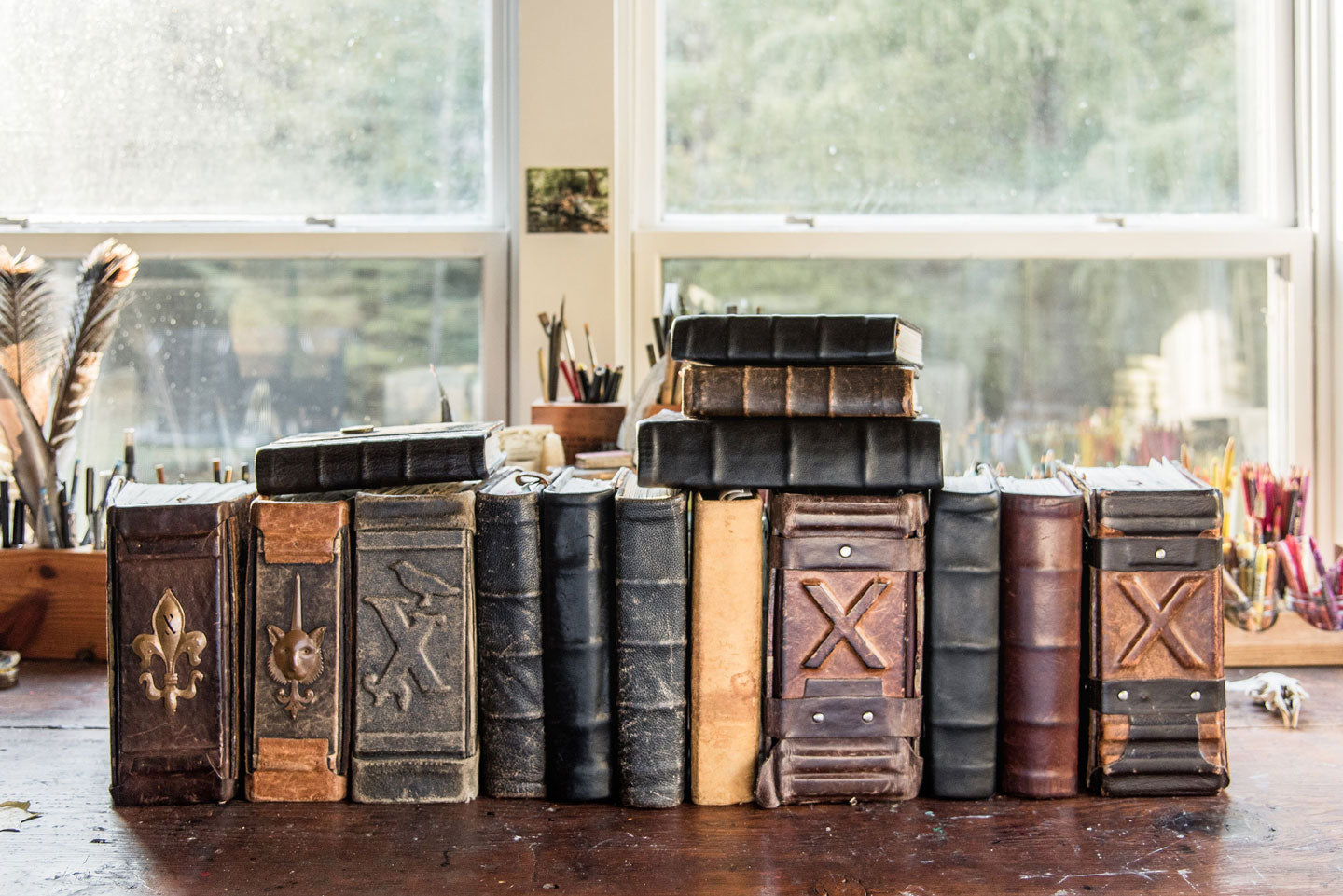 Massive Handbound Journals covered with antique leather and handmade details