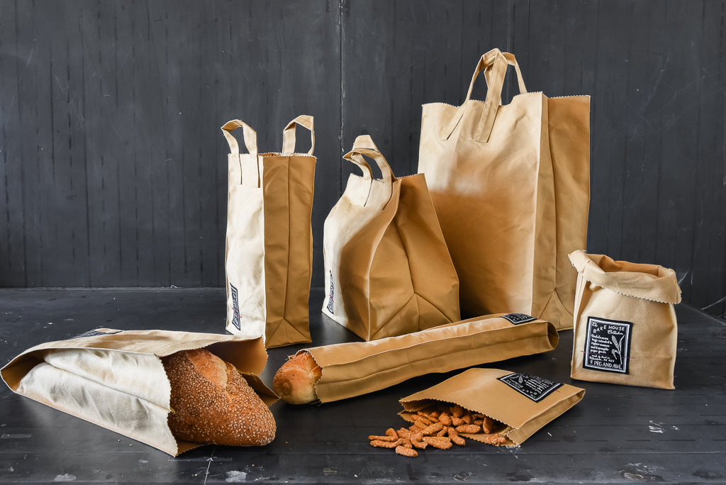 Reusable foldable cotton grocery bags by Peg and Awl