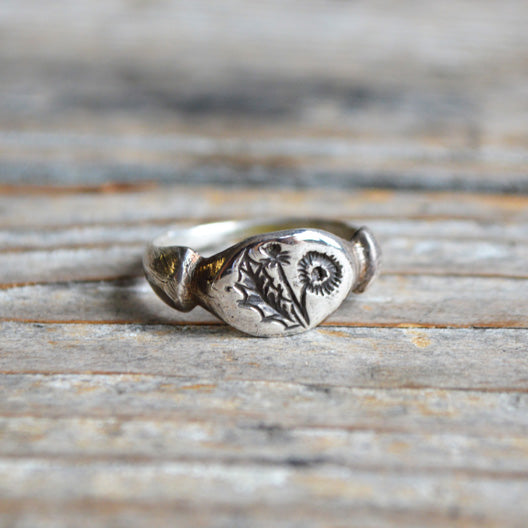 Botanical Dandelion Ring by Peg and Awl