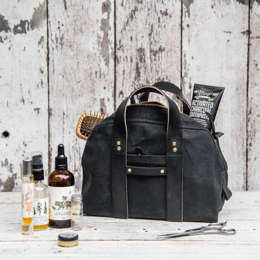 All Black Dopp Case by Peg and Awl
