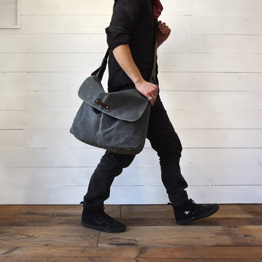 The Large Finch Satchel in Slate | Peg and Awl