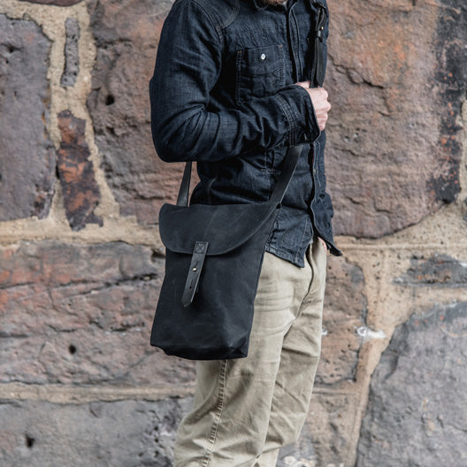 All Black Hunter Satchel by Peg and Awl