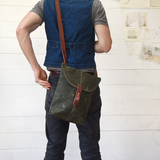 The Hunter Satchel in Moss by Peg and Awl