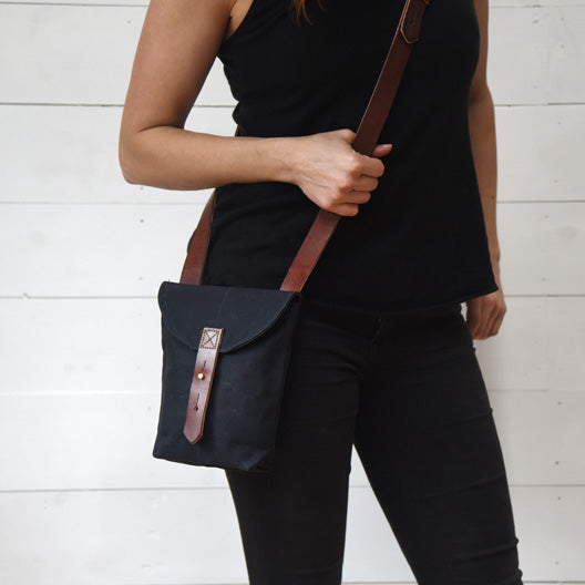 The Small Hunter Satchel in Coal by Peg and Awl