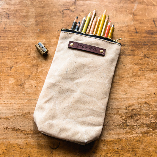 The Scribbler Pouch in Almond by Peg and Awl