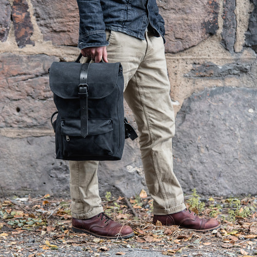All Black Little Rogue Backpack by Peg and Awl