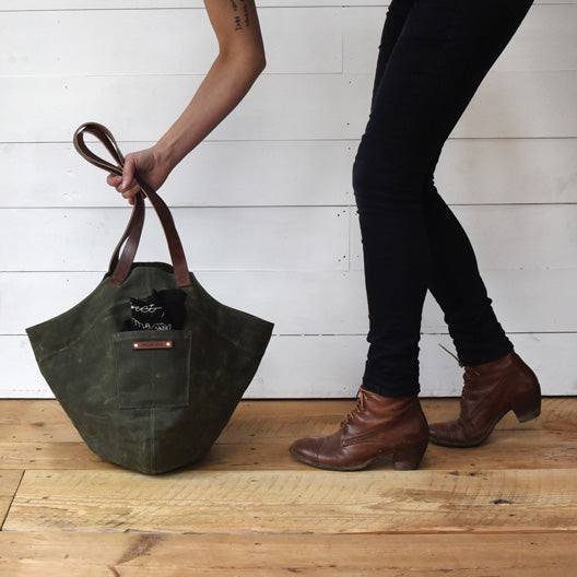 The Gatherer Bag in Moss by Peg and Awl