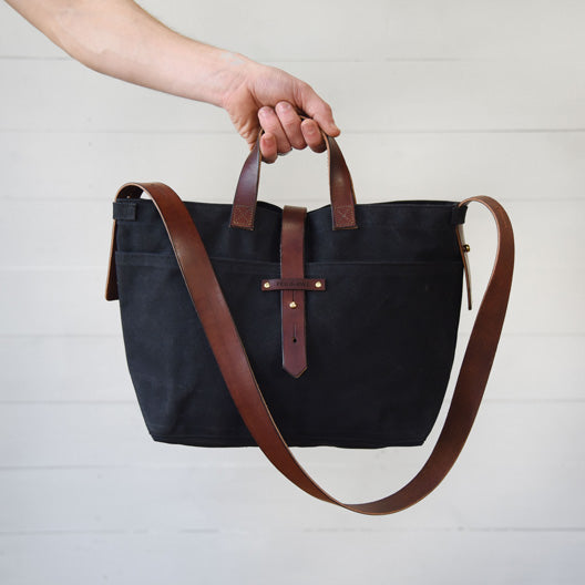 Waxed Canvas Tote in Coal | Peg and Awl