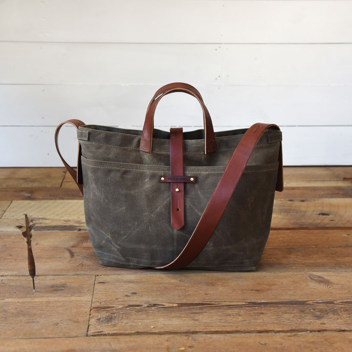 Waxed Canvas Tote without Zipper | Peg and Awl