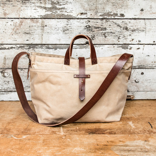 Large Waxed Canvas Tote in Almond by Peg and Awl