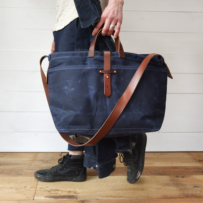 Large Waxed Canvas Tote without Zipper | Peg and Awl
