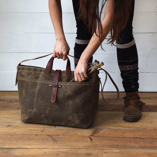 The Large Waxed Canvas Tote in Truffle | Peg and Awl