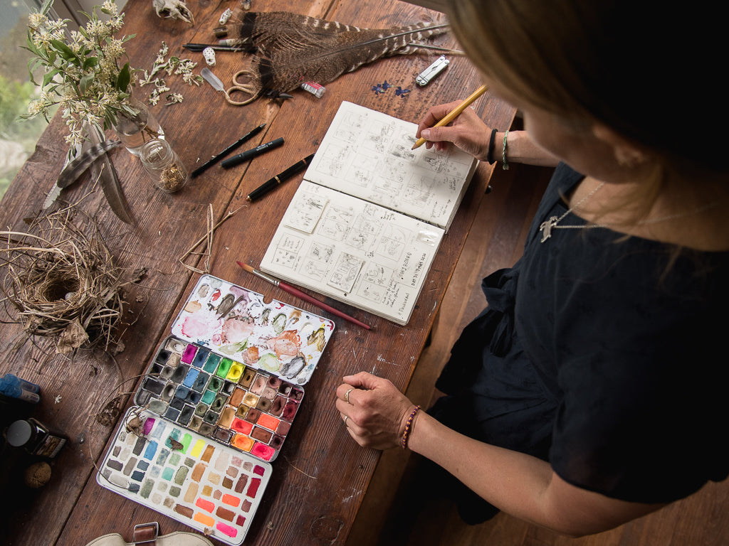 Painting and Journaling by Peg and Awl