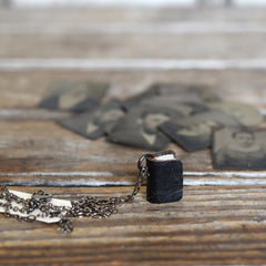 All Black Book Necklace: Black Victorian Boot