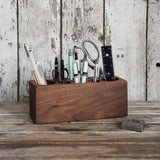 Large Walnut Desk Caddy