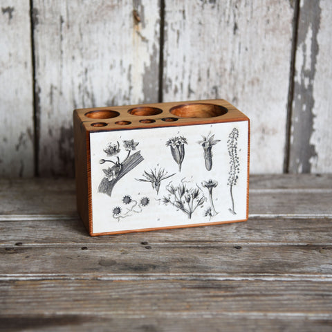 Medium Decoupaged Desk Caddy: Flowers