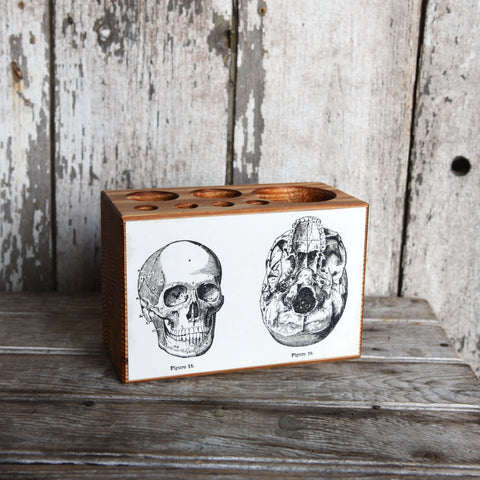 Medium Decoupaged Desk Caddy: Skulls