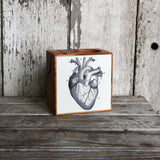 Small Decoupaged Desk Caddy: Heart