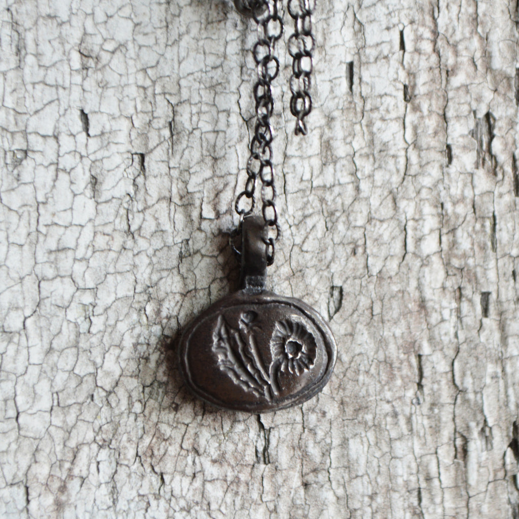 Dandelion Flower Wish Wax Seal Charm on Sterling Silver Necklace