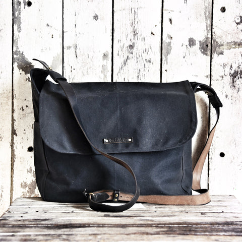 All Black Large Finch Satchel with Reclaimed Strap
