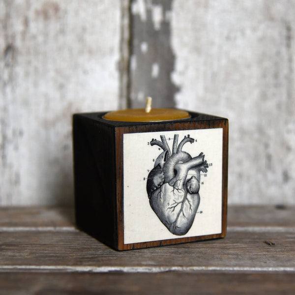 All Black Medical Candleblock: Blackened Cobblestone Heart