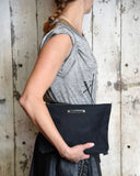 All Black Large Waxed Canvas Pouch