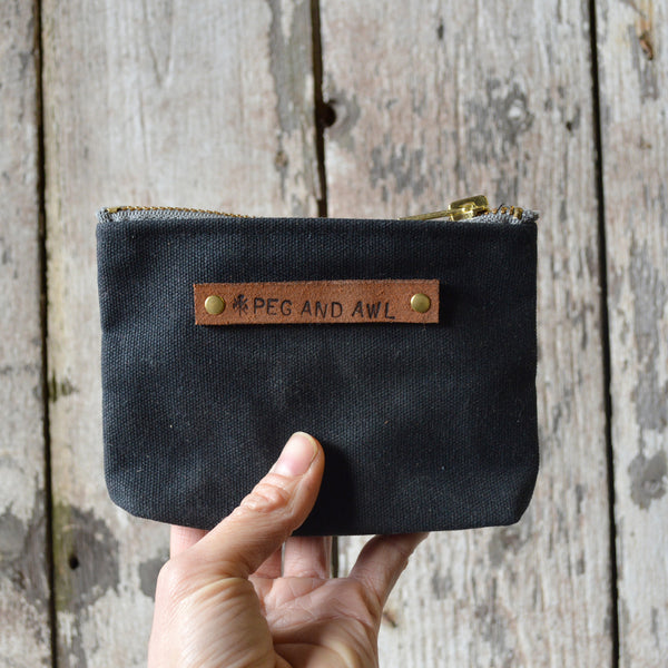 Antique Leather Small Waxed Canvas Pouch