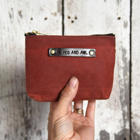 Small Waxed Canvas Pouch in Rust