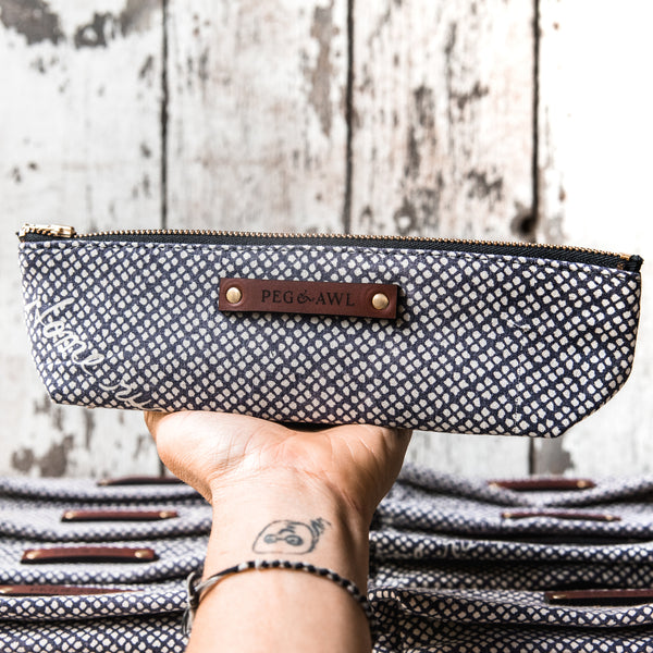 Drafter Pouch with 1920s Japanese Textile No. 2: Home Run