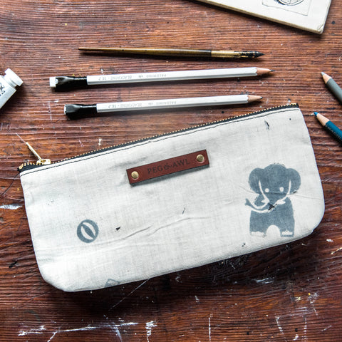 Scholar Pouch with 1920s Japanese Textile No. 4: Elephant No. 3