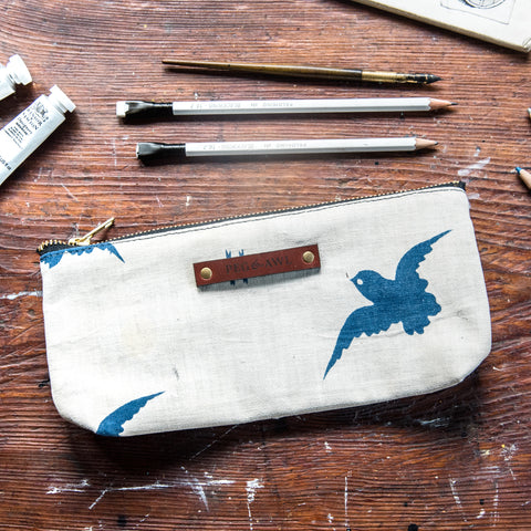 Scholar Pouch with 1920s Japanese Textile No. 5: Sparrow No. 2