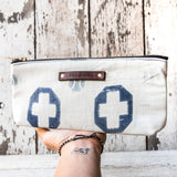 Scholar Pouch with 1920s Japanese Textile No. 6: Cross + Ball