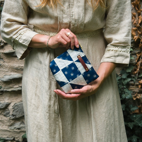 Custom Pouch with Hand-Stitched 1800s Quilt Squares: Aggi