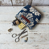 Custom Pouch with 1800s Jaquard Woven Coverlet: Charlie