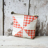 Custom Pouch with 1930s Quilt Block: Coco