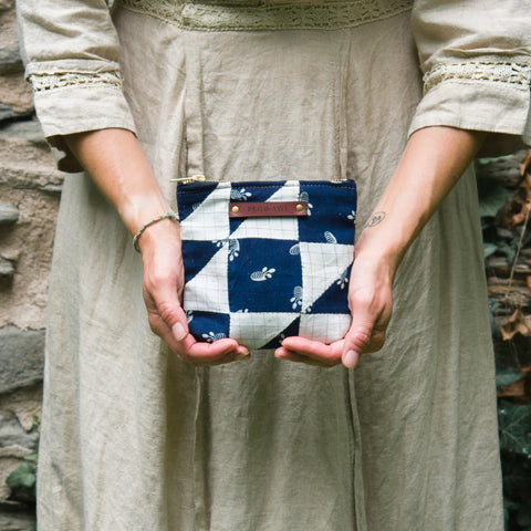 Custom Pouch with Hand-Stitched 1800s Quilt Squares: Elsa