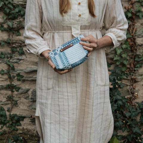 Custom Pouch with 1800s Jaquard Loom Coverlet: Maire